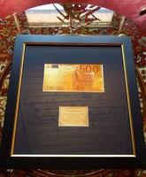 500 EURO 24k ARANY UNC BANKJEGY SZETT, KERET, LUXUS AJÁNDÉK