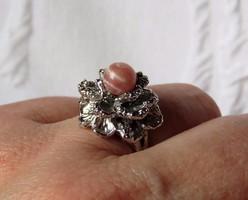 Modernista ezüst gyűrű rodokrozittal - gyönyörű!