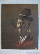 Férfi kalapban festmény