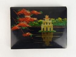0N334 Régi Vietnámi festett lakk fényképtartó