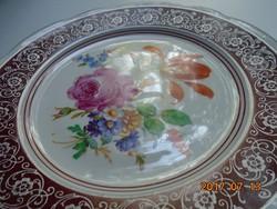 KARLSBAD CARL KNOLL monogrammal,kézzel festett virág mintás,ezüst mintás tányér-18,5 cm