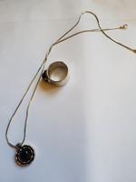 Izraeli ezüst szett onix kővel