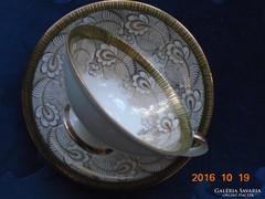 Nagy aranyvirág mintás teás csésze alátéttel,díszes fogóval