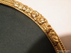 Arany színű fém kerek asztali-fali tükör