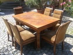 KOZMA ART DECO étkező asztal + 6 db szék 1930-as évekből