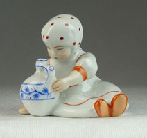 0N655 Régi Zsolnay porcelán korsós kislány