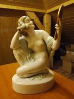 Nagyméretű Herendi porcelán Tükrös Nő Akt figura 39,5 cm