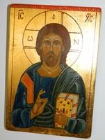Szigeti Erzsébet ikonfestő kézzel festett másolat eredeti technikával Életadó Krisztus 14. sz.