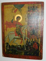 Szigeti Erzsébet ikonfestő kézzel festett másolat eredeti technikával Sárkányölő szent György