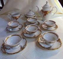 Vintage Wawel Walbrzych porcelán kávés készlet ( fehér- arany) / 1022