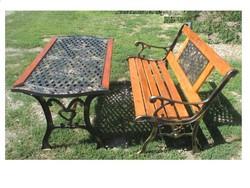 Öntöttvas kerti asztal,pad.