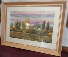 Bóka Dezső (1935-): Őszi táj. Akvarell, papír, jelzett, üvegezett keretben, 40×54 cm
