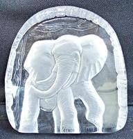 Elefánt üvegben dísztárgy, levélnehezék