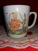 Antik Zsolnay porcelán gyermek mese bögre extrém ritka Kislány ugrálókötéllel a képek szerint