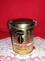 Régi OMNIA lemez doboz bakelit fedéllel csatos nyitó - záró rendszerrel 13 X 10 cm 25 gramm kávéhoz