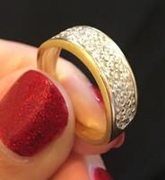 14 karátos 3 sorban köves arany gyűrű