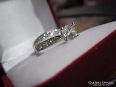Dupla, felépítményes, eljegyzési gyémánt gyűrű!
