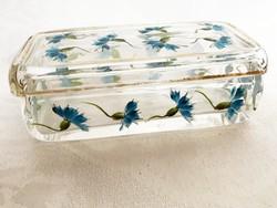 Antik búzavirágos üveg kis tároló, ékszertartó vagy másnak is