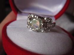 Csillogó zöld ametiszt 925 rózsa ezüst gyűrű