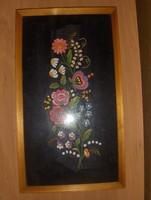 Retró hímzett falikép üvegezett képkeretben
