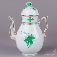 Herendi zöld Apponyi mintás nagy teáskanna