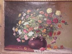 Lukácsy János:Virágcsendélet.80×60cm+ keret.Kerettel:98×78cm.