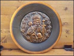Szent István bronz fali dísztál , relief