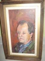 Szignált olaj farost portré Medgyesi Péter