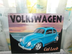 Retró Fém Tábla - Volkswagen VW Bogár, Beetle Reklámtábla (AA-0801)