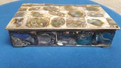 Mexicói Alpaka ezüst, Abalon kagylóval díszített gyöngyházas,, kézműves díszdoboz