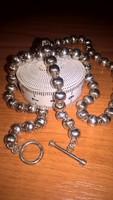 Sorszámozott, különleges kézműves ezüst gyöngyökből álló sterling ezüst lánc, gyöngysor