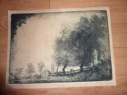 F. Antal: Útszéli falu vándorral, rézkarc 1926, zsürizett