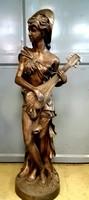 Óriási bronz szobor: Zenélő hölgy (130cm magas)