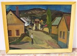 Szamosvári József (1931-) Utca c olajfestménye Képcsarnokos 86x66cm Eredeti garanciával !!