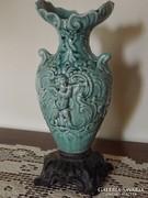 Antik angyalkás fajansz (Zsolnay?) váza