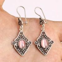 Ezüst fülbevalò rózsaszin topàz kővel