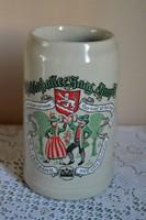 1 literes Német égetett kerámia söröskorsó