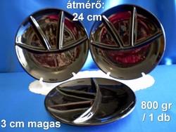 Városlődi fekete majolika, kerámia 4 részre osztott tál tányér 23 cm darabra