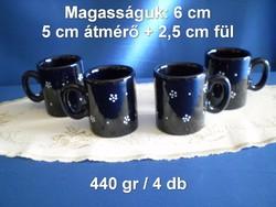 Városlődi fekete majolika, kerámia kávés pohár 4 db