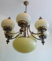 Art Deco stílusú réz 7+1 izzós csillár !