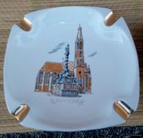 Suprun, Sopron Hollóházi porcelán hamutál,  20,5 cm jelenetes