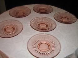 Gyönyörű 6 db vintage rózsaszín desszertes üveg tányér