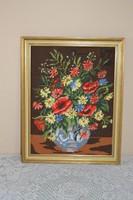 Gyönyörű Virágcsendélet Gobelin keretben