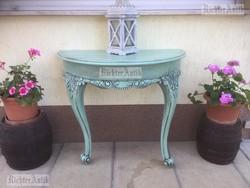 Provence bútor, zöld antikolt Barokk konzol asztal.