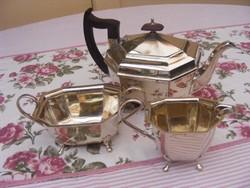 Fantasztikus, jelzett, ezüstözött teás vagy kávés készlet, 3 darabos kanna, kis kiöntő és cukortartó