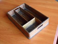 Antik fa tároló doboz (varródoboz, kanalas, kanáltartó)