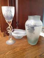 Jon Art kortárs művészi üveg kehely - 30 cm