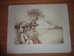 Lacza Márta: Földmunkások, litográfia, jelzett, számozott, 1981