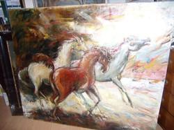 Vágtató lovak.Nagyméretű olajfestmény.