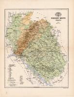 Pozsony megye térkép 1885, Magyarország, vármegye, atlasz, Kogutowicz Manó, 43 x 56 cm, eredeti
